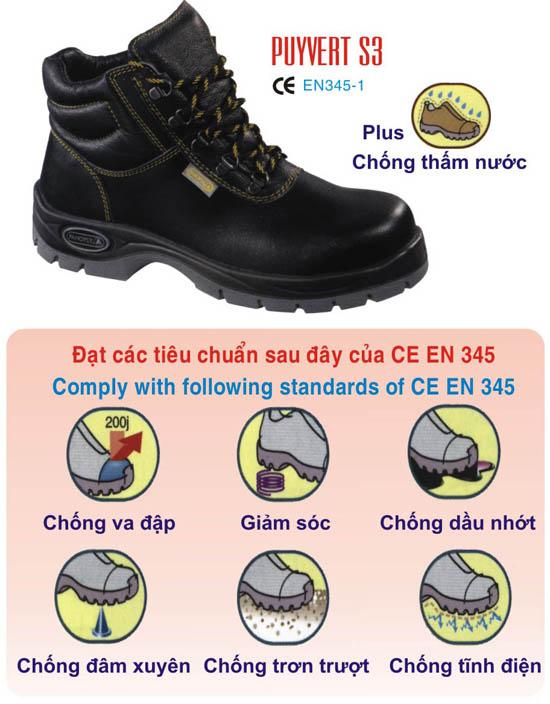 Giày bảo hộ lao động cao cổ đế sắt mũi sắt tiger  -  chống thấm