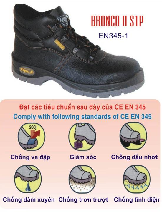 Giày bảo hộ lao động cao cổ đế sắt mũi sắt Tiger