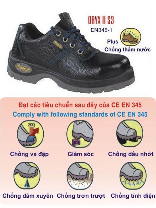giày bảo hộ thấp cổ đế sắt mũi sắt tiger